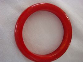 1930s - 1940s Bakelite Bangle - Tomato Red with Yellow swirls (Sold)